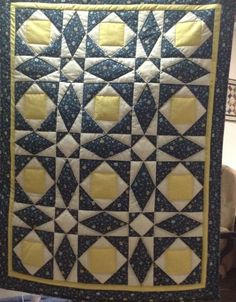 "Hand Quilted Wall Hanging, 29"" X 38"", Blue and Yellow  