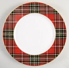 222-Fifth-Wexford-Red-Set-of-4-Dinner-Plates-Red-Plaid-Gold-Trim-Christmas