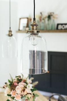 Glass Pendant Lighting On Ceiling Hook - Boho Industrial Dining Room With Vintage Accents