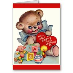 Vintage Dear Babys 1st Valentines Day Teddy Bear Greeting Cards - #zazzle