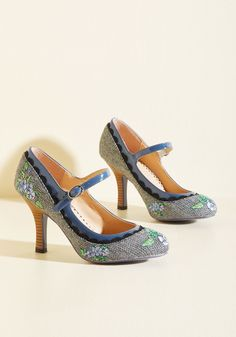 Romance Wasn't Built in a Day Mary Jane Heel. It takes time to create the perfect partnership, however, these houndstooth heels by Banned are an exception to the rule. #blue #modcloth