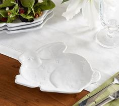 Sculpted Bunny Salad Plate, Set of 4
