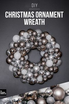 Make this ornament wreath for under $25 in any color or shape you want. Super easy holiday DIY.