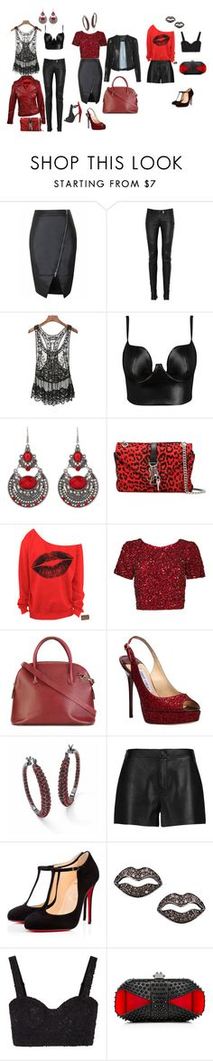 """Red & Black"" by tracy-kerr on Polyvore featuring Balmain, Posh Girl, Y.A.S, Christian Louboutin, Yves Saint Laurent, Parker, CÉLINE, Jimmy Choo, Palm Beach Jewelry and J Brand"