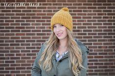 UniSex Ribbed Beanie with Pom Pom Crochet Hat by TheTurtleTrunk