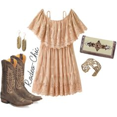 Maybe it was Memphis by rodeo-chic on Polyvore, Old Gringo cowboy boots with lace dress, off shoulder, western, bohemian, gypsy