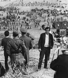 Stanley Kubrick on location outside Madrid, Spain, during production of Spartacus (1960)