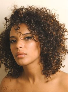 Kinky Curly Medium Curly Lace Front Cap Human Hair Wig 12 Inches