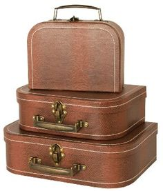 Amazon.com - Wald Imports Brown Suitcases, Set of 3 - Accessory Boxes