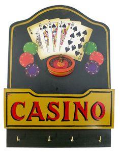 Cód. 106.073 - Quadro De Madeira Casino 4 Ganchos Oldway - 35x25x5