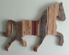 Horse (full body size) is made from repurposed weathered barn wood.