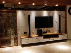 Bedroom Tv Unit Design, Tv Unit Interior Design, Tv Unit Furniture Design, Living Room Partition Design, Living Room Tv Unit Designs, Tv Wall Design, Tv In Bedroom, Bedroom Furniture Design, Home Room Design