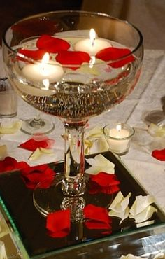 """centerpiece - Floating candles and rose petals""  Simple, elegant and classy, but unique enough <3"