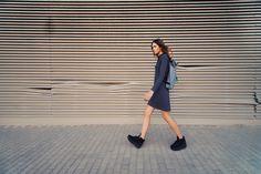 urban uniform #8 = everyday polo dress + cloudy landscape backpack + black head shoes