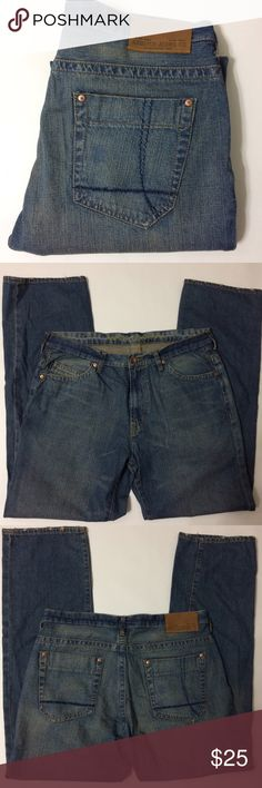 """Nautica Men's Jeans Medium wash with factory fading and some fraying to hems these are more of a loose fitting straight leg jean...Size 34x32 and double checking the inseam it is 32""""...bundle to save more Nautica Jeans Straight"""