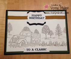 Stampin' Up Country Livin' and Lovely as a Tree work together to make this simple, classic birthday card.  Sentiment is from Guy Greetings.