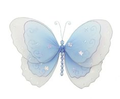 """Hanging Butterfly 5"""" Small Blue Multi-Layered Nylon Butterflies Decorations - Decorate for a Baby Nursery Bedroom, Girls Room Ceiling Wall Decor, Wedding Birthday Party, Bridal Baby Shower, Bathroom. Butterfly Decoration 3D Art Craft by Bugs-n-Blooms. $5.95. Includes a piece of fishing line and hoop for easy hanging to any wall or ceiling (removable if desired). Sold individually. Visit our Amazon store for more great items: www.amazon.com/shops/Bugs-n-Blooms. This go..."""