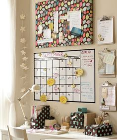 study area - like the large calendar & material pin board