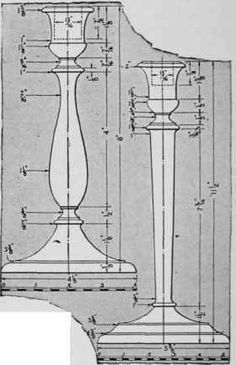 Two designs of candlesticks of fine proportions.