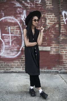 Nadia sarwar froufrouu Brooklyn- black comptoir top black culottes zara sneakers white socks?? not sure about that