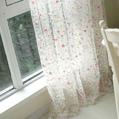 HOT Modern Floral Tulle for Window Curtain Sheer Curtains for Living Room Bedroom Window Screening Organza Curtains Cortinas