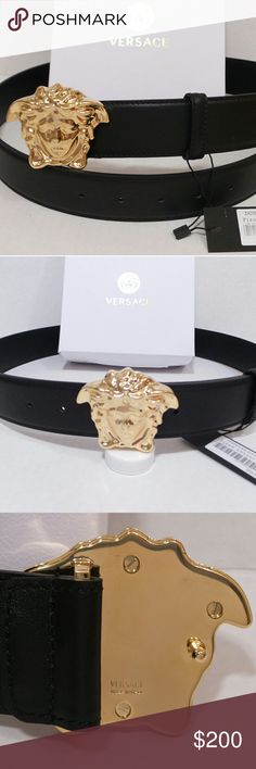 Versace Mens Black Leather Belt 3D Medusa NWT SPRING SALE Versace authentic mens black leather pallazo belt with 3D gold Medusa buckle..new never used   NEW SIZES JUST ADDED SIZE 90 for 30 - 32 Waist SIZE 95 for 32 - 3r Waist SIZE 100 for 34 - 36 Waist SIZE 110 for 38 - 40 Waist SIZE 115 for 40 - 42 Waist  Comes exactly like in Pics with tags and Versace white pyramid shaped box. Makes great gift! Versace Accessories Belts