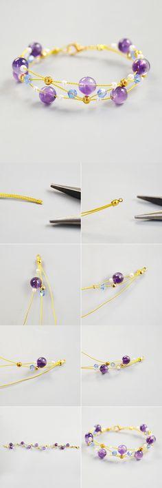 Handmade with glass beads - DIY Jewelry Vintage Ideen Handmade Beaded Jewelry, Handmade Bracelets, Beaded Bracelets, Wire Wrapped Jewelry, Wire Jewelry, Jewelery, Diy Jewelry Projects, Jewelry Crafts, Jewelry Making Beads