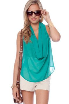 Hanging Around Sleeveless Top in Jade $18 at www.tobi.com