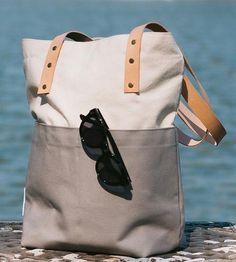 Signature Two Tone Canvas & Leather Tote Bag, Grey by Plywood Made on Scoutmob Shoppe