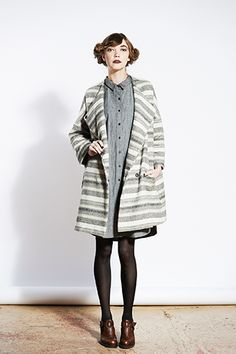 Clean, buttoned up dress + loose, comfortable sweater coat. I'm there. #Jill #Sander