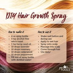 DIY Hair Growth Spray - Did you know you can use essential oils to stimulate hair growth? Try this spray bottle recipe courtesy of and let us know what you think! What are some other recipes you use in your beauty routine? Diy Hair Growth Spray, Hair Growth Tips, Natural Hair Growth, Natural Hair Styles, Hair Growth Recipes, Make Up Tools, Essential Oils For Hair, Essential Oil Blends, Stress