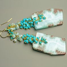 #RESERVED  Larimar and Turquoise Long Dangling Cluster Earrings  Earrings #2dayslook #new #Earrings #fashion #nice  www.2dayslook.com