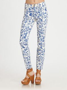 Current Elliott Skinny Jeans 30 Diane Von Furstenberg Pant Blue White Denim New #CurrentElliott #SlimSkinny