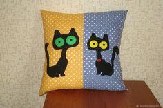 """Купить Подушка """"Кошки. Парочка..."""" - комбинированный, подушка, интерьерная подушка, подушка с котами"""