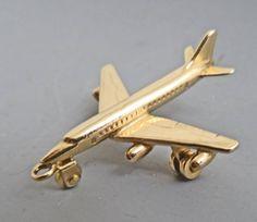 14k yellow gold Airplane charm by bezelandbale on Etsy