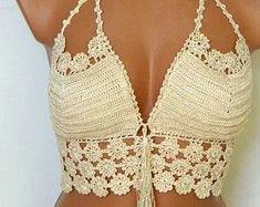 top cropped croche com bojo com detalhe