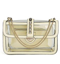 See Through Bag With Chain Straps  Lime