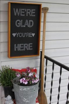 welcome-chalkboard (Repurposed Serving Tray To A Chalkboard Welcome Sign) Chalkboard Welcome Signs, Chalkboard Paint, Chalkboard Ideas, Blackboard Art, Chalkboard Fonts, School Chalkboard, Chalk It Up, Sign Quotes, Vinyl Quotes