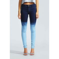 Boohoo Lorraine Dip Dye Ombre Super Skinny Jeans found on Polyvore