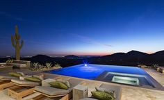 Interior Exquisite Arizona Desert Mountain Retreat With Comforting Views: Good Looking Of Outdoor Swimming Pool In Rectangle Shape With Great Outdoor Floor In White Marble Plus Four Bed Pool With Chusionc In Grey Also Green Colour