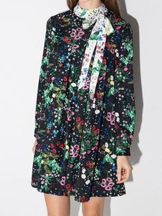Multicolor Floral Bowknot High Neck Pleated Dress