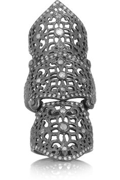 Loree Rodkin 18- karat rhodium white gold diamond armor ring.