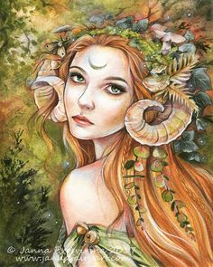 #tbt #art Mixed meadia painting I finished earlier this year one of my personal favourites The original is sold prints available from my website (link in bio ) #elven #maiden #fantasyart #faery #forestcreature #fauness #jannafairyart