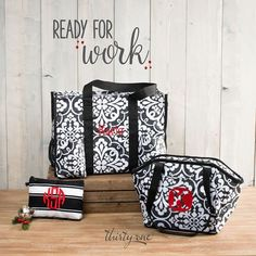 Thirty-One Gifts – Ready for Work! #ThirtyOneGifts #ThirtyOne #Monogramming #Organization #NovemberSpecial #ZipTopOrganizingUtilityTote #ZipperPouch