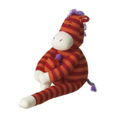 """Zelda"" Small Zebra Sock Plush Toy Playful, fun and cute! Children will enjoy the mischievous nature of these delightful characters. Zelda is 12.5"" tall and made of acrylic yarn. This product is not i"