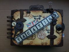 A suitcase looking mini album (die from Tim Holtz)