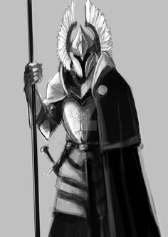 Gondor Sentinel by KrokCZ on DeviantArt Fantasy Male, Fantasy Armor, Fantasy Weapons, Dark Fantasy Art, Medieval Fantasy, Fantasy Character Design, Character Art, Hobbit, Knight Art