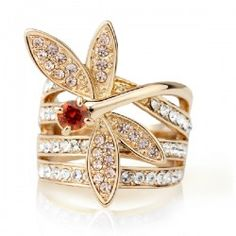 Beautiful And Exquisite Crystal Dragonfly Rose Gold Planted Women's Rhinestone Ring  - USD $70.95