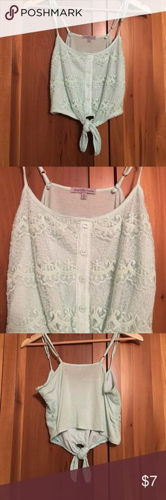 Lace detail crop top Pale teal crop top that ties in the front Charlotte Russe Tops Crop Tops