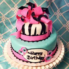 Fondant zebra, pink, & teal cake. Girls birthday